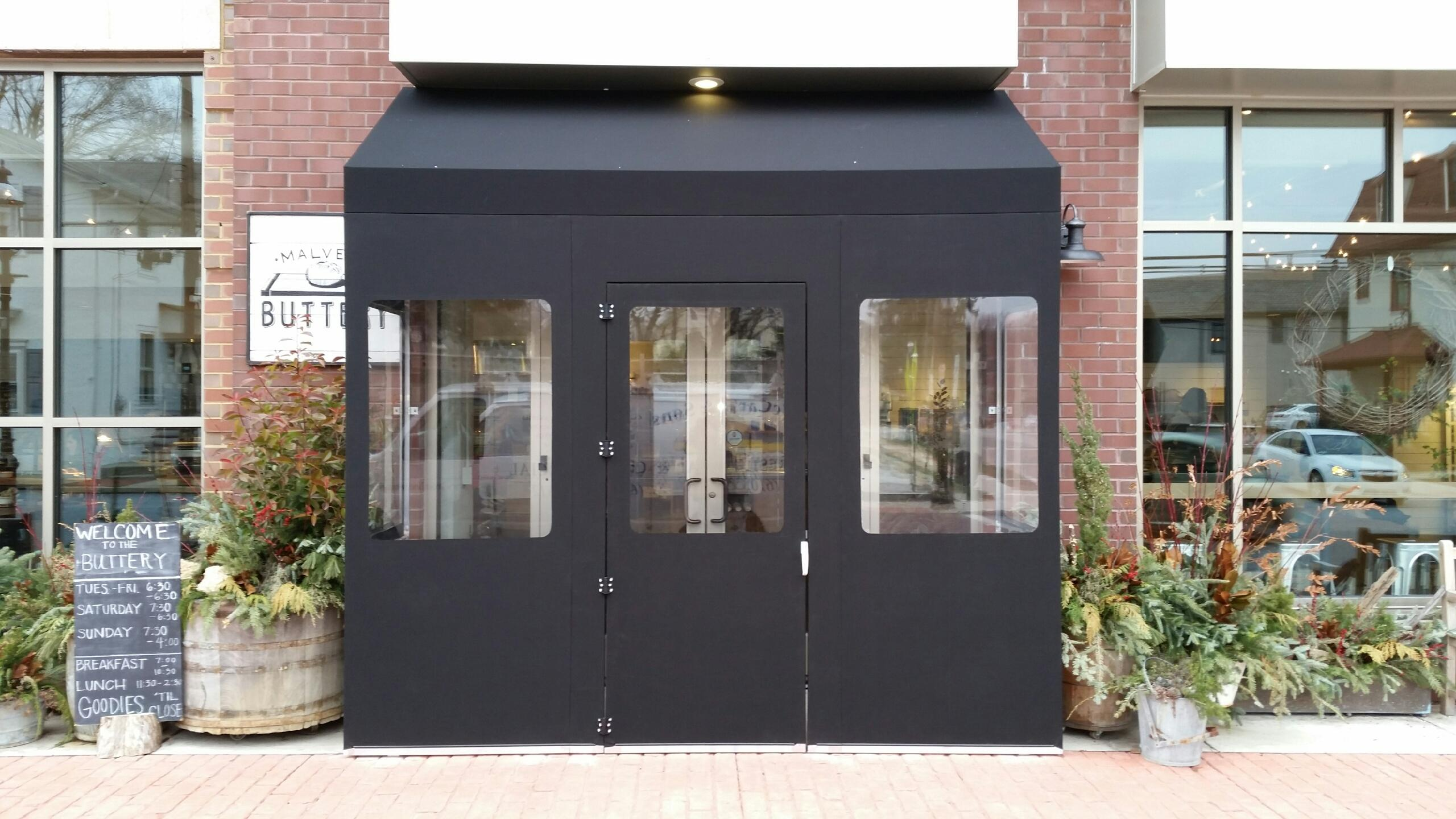 Seasonal removable creative vestibule awnings MacCarty and Sons